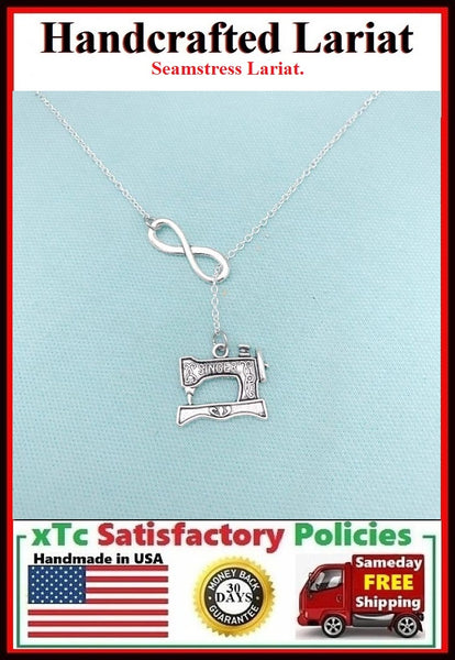 Sewing Machine Necklace Lariat Style. Seamstress Necklace.