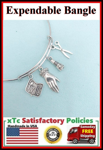Nail Technician and Manicurist related Charms Bangle