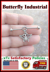 Beautiful Butterfly Charm Surgical Steel Industrial.