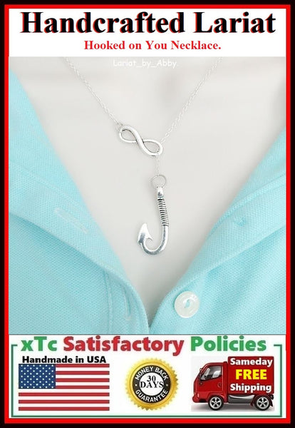 Large Fishhook Handcraft Necklace Lariat Style. I am hooked on You, Lover's Gift
