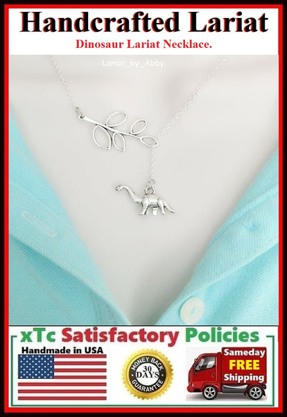 Walking Dinosaur Silver Handcrafted Lariat Style Necklace.