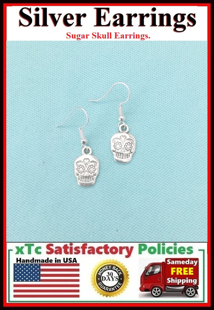 Beautiful SUGAR SKULL Silver Dangle Earrings.