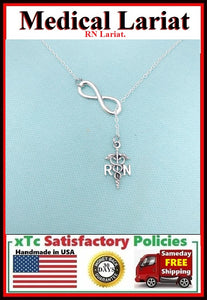 RN Caduceus Necklace Lariat Style. Nurse Gift.