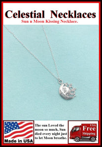 Celestial Sun n Moon Kissing Charm Silver Necklace.