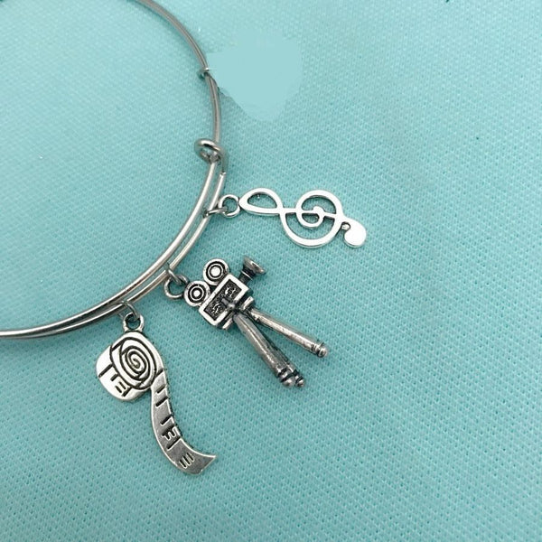 Movie Camera, Film Reel & Music Note Silver Charm Bangle
