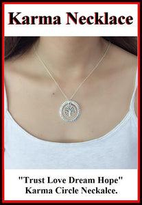 """Trust,Love,Dream,Hope"" Karma Circle and Tree of Life Necklaces."