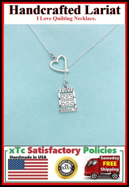 I Love Quilting Silver Charm Lariat Necklace.