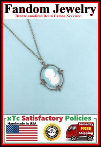 Resin Cameo anodized Bronze Chain Necklace.