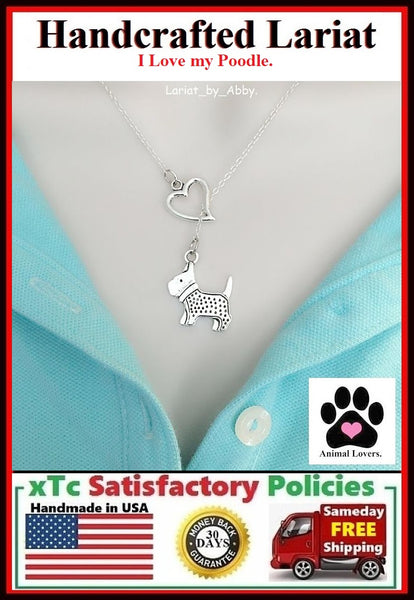 I Heart Poodle Handcrafted Necklace Lariat Style. Gift for Poodle Lovers.