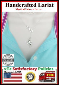 Mystical Unicorn & Infinity Handcrafted Necklace Lariat Style.