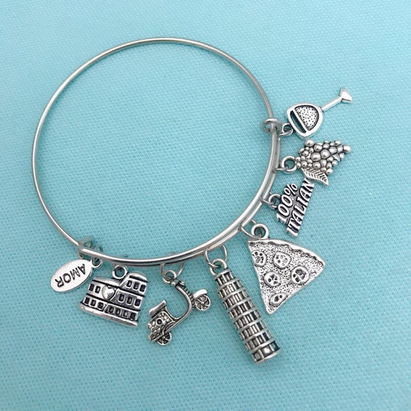 Travel to ITALY Charms Expendable Bangle Bracelet.