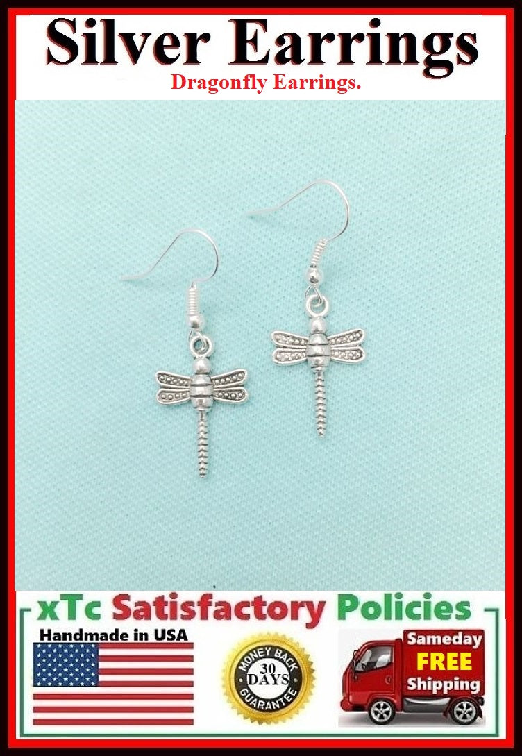 Beautiful DRAGONFLY Silver Dangle Earrings.