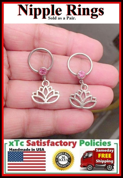 "PAIR Sterilized Surgical Steel 1/2"" Nipple Rings with Lotus Flower."
