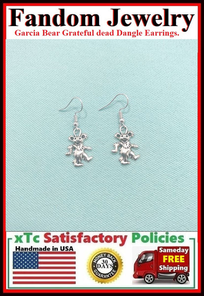 Grateful Dead  Garcia or Dancing Bear Silver Earrings.