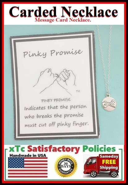 (TWO) 2 PINKY PROMISE Charms Silver Necklaces.