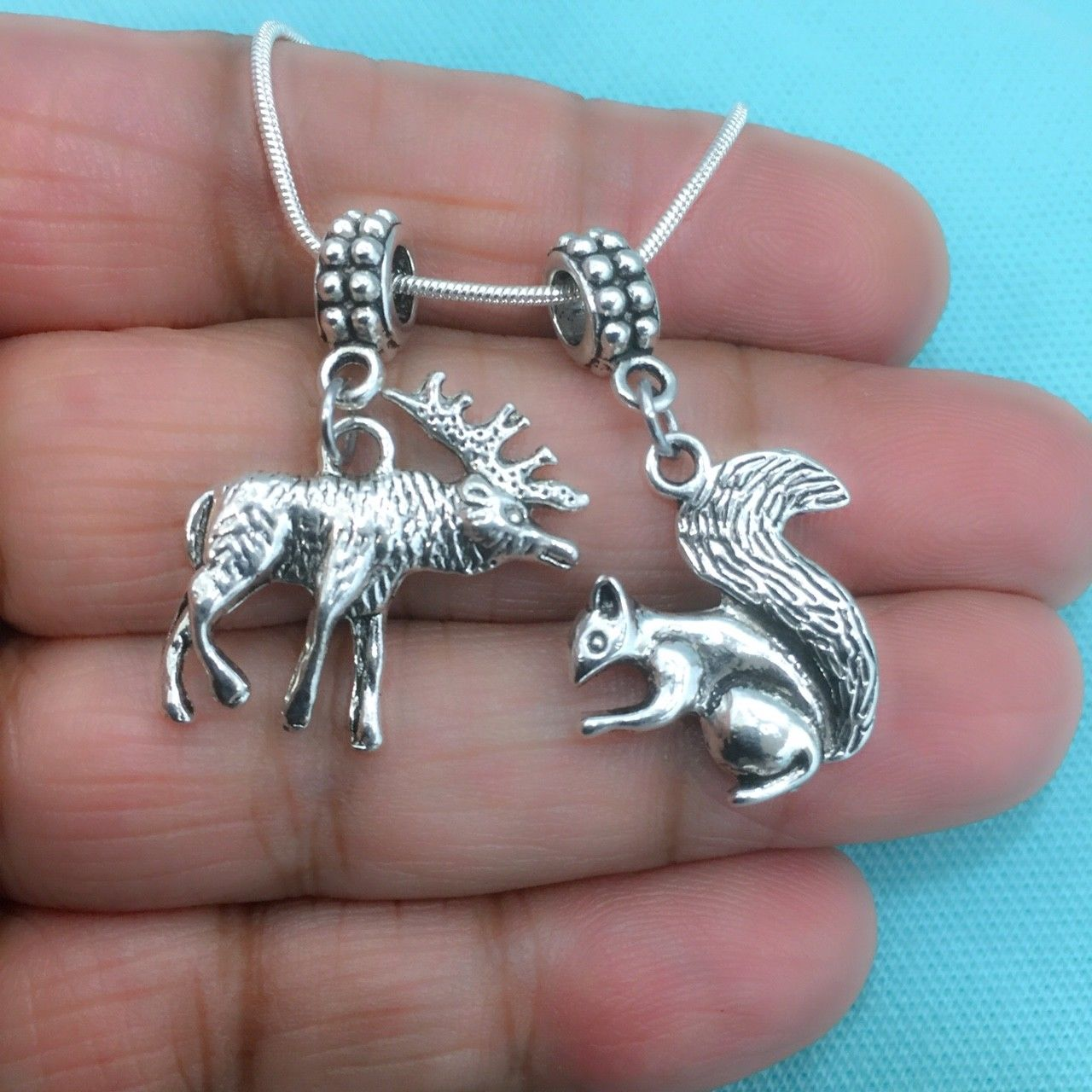 SUPERNATURAL: Moose and Squirrel Charms Fit Beaded Bracelet.