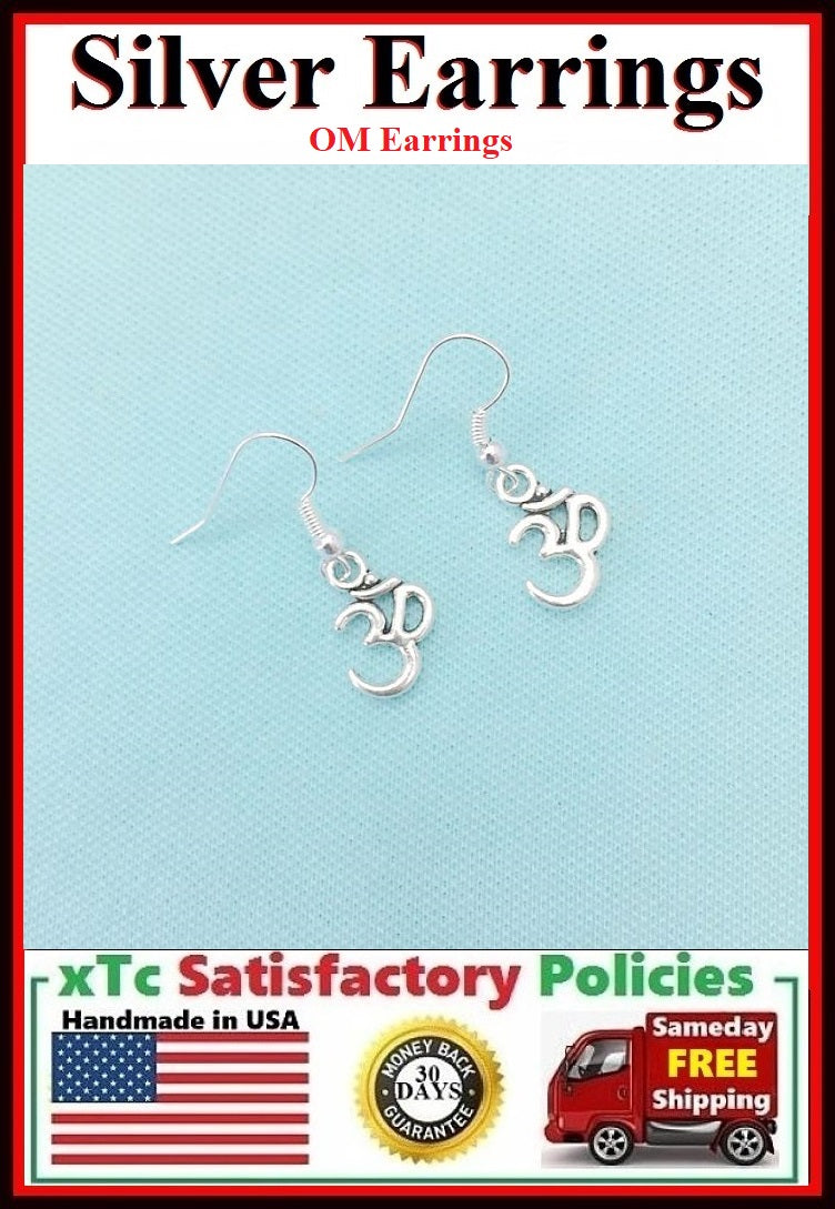Beautiful OM YOGA Silver Dangle Earrings.