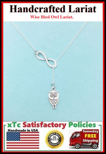 "Stunning Small Owl with Infinity Silver Charm ""Y"" Lariat Necklace. Reader Gift."