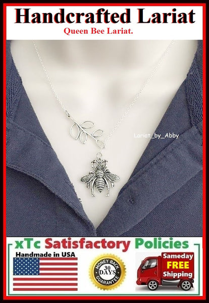 "Large Queen Bee Silver Charm ""Y"" Lariat Necklace."