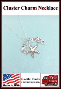 Stunning Starfish Cluster Charm Necklaces. #1