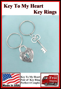 Key To My Heart Key Rings for Couples or Lovers.