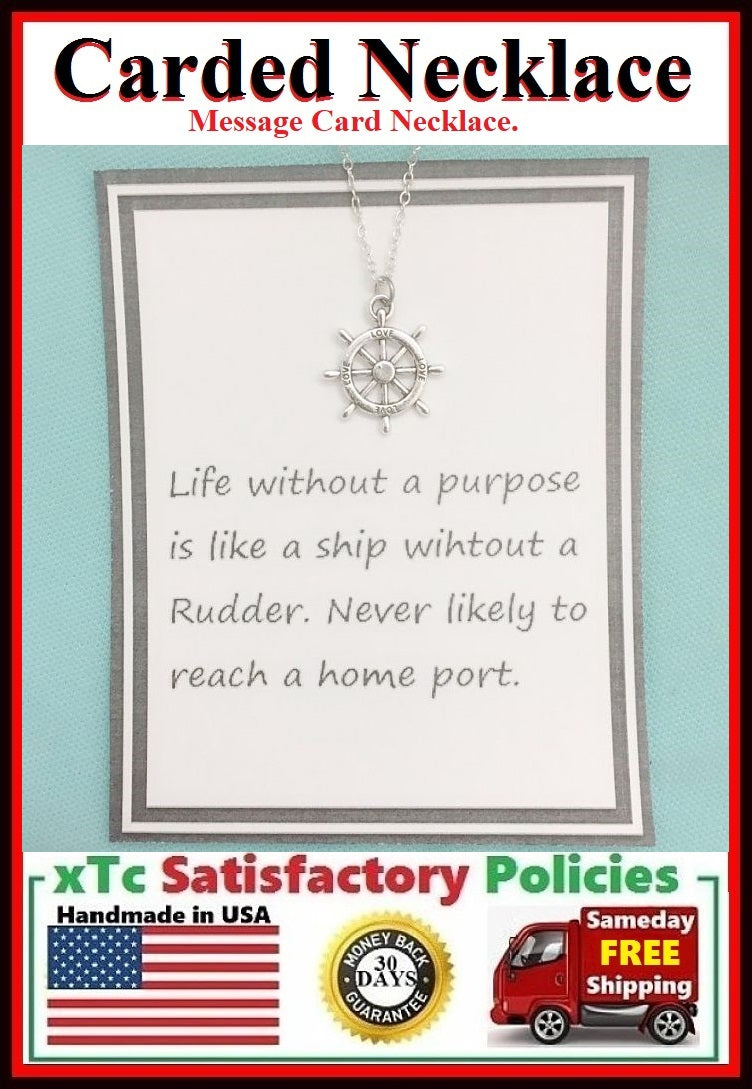 Motivational Gift; Handmade Silver Rudder Charm Necklace.