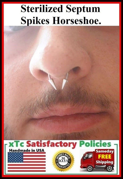 Sterilized 14g 10mm dia 12mm Spikes Septum Horseshoe.