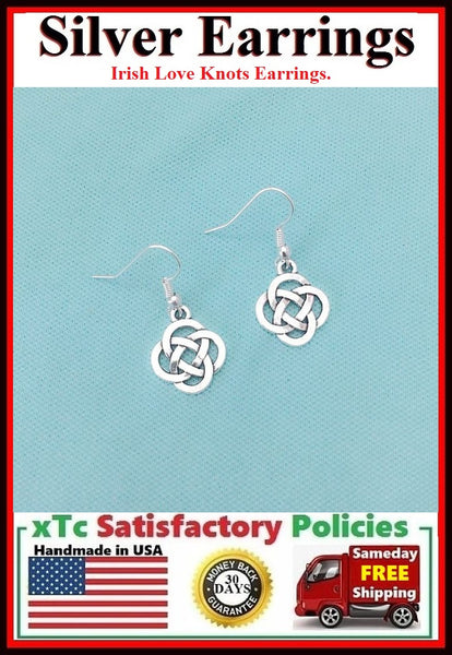 Beautiful IRISH CELTIC KNOTS Silver Dangle Earrings.