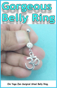 Sterilized Om, Yoga Zen Surgical Steel Handmade Belly Ring
