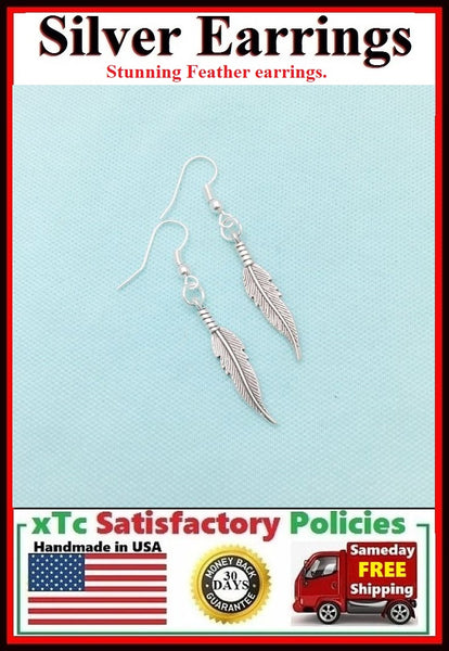 Beautiful SINGLE FEATHER Silver Dangle Earrings.