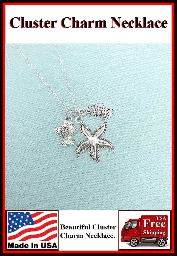 Stunning Starfish Cluster Charm Necklaces. #2