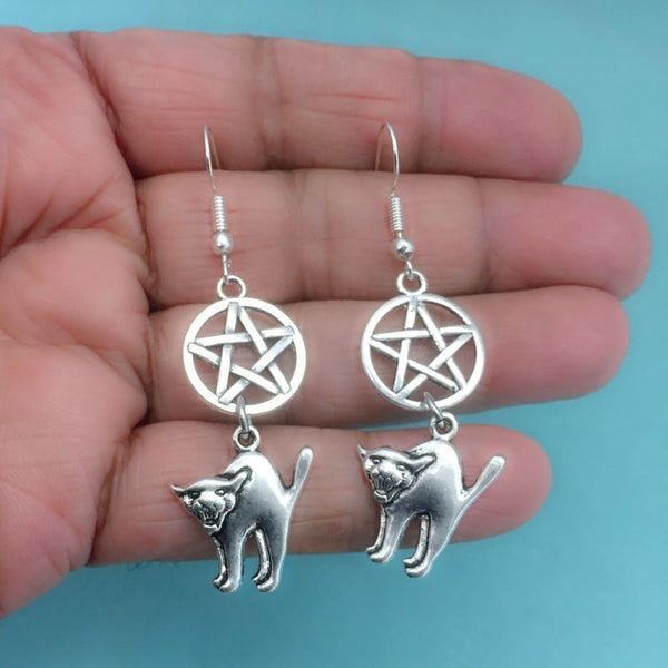 LUCIFER; Pentagram and UGLY Cat Silver Charms Earrings