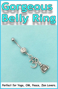 Sterilized OM and Buddha Charms Surgical Steel Belly Ring