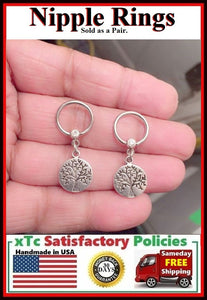 "PAIR Sterilized Surgical Steel 1/2"" Nipple Rings with Tree of Life."