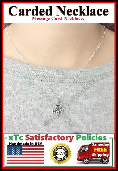 NURSE, RN, LPN; Handcrafted Silver RN CADUCEUS Charm Necklace.