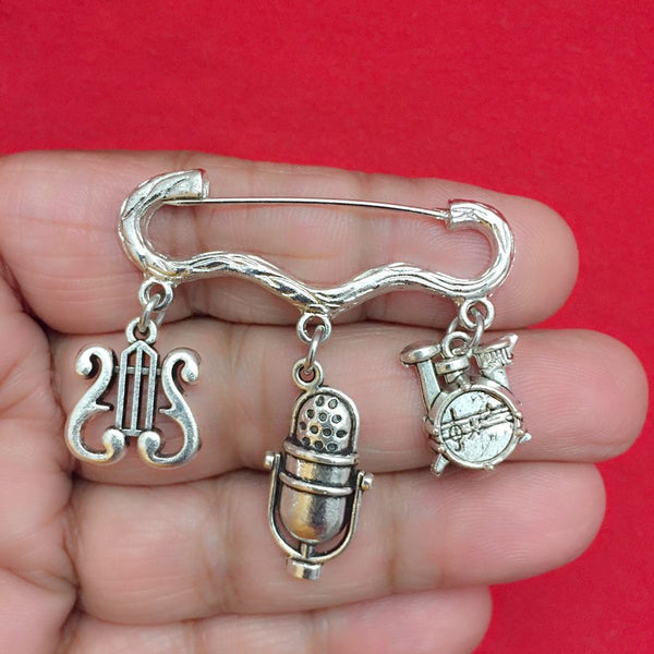 Easy on/off Brooch with Music Rest, Mic and Drum Set Charms, Singer, Musician