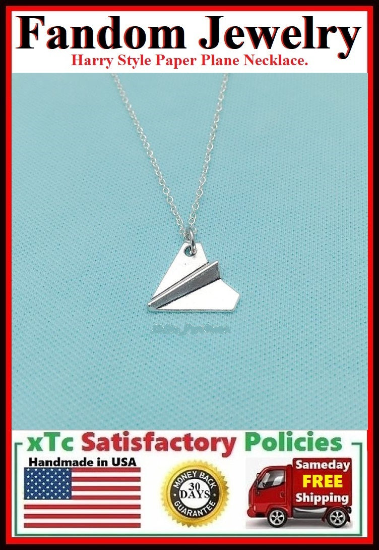 Harry Style Paper Plane Silver Charm Necklace.