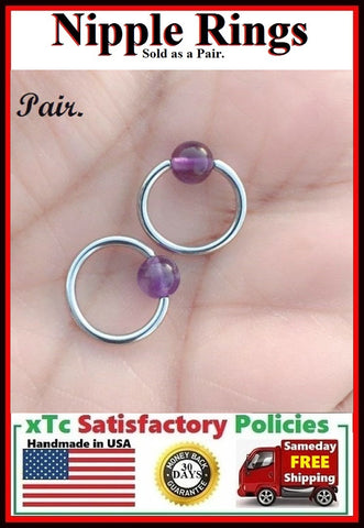 "PAIR Sterilized Surgical Steel 1/2"" Nipple Rings with Amethyst Balls."