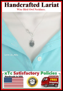 Nice Owl & Infinity Handcrafted Lariat Style Necklace.