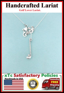 I love Golf Charms Necklace Lariat Style.