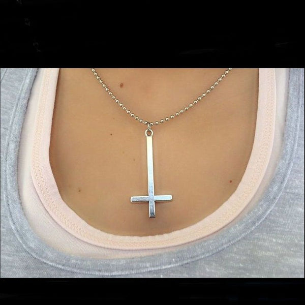 "2"" Long Silver UPSIDE down CROSS Satanic Necklace."