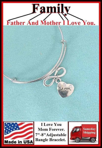 "Handcrafted "" I Love You MOM Forever"" Charms Bangle."