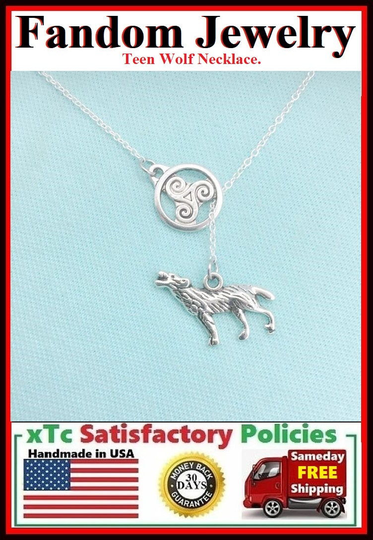 Beautiful TRISKELION Disk & WOLF Handcrafted Necklace Lariat Style.