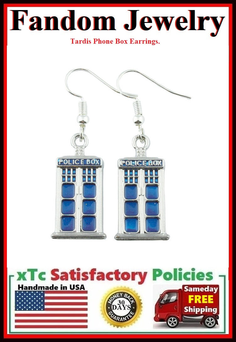 BLUE TARDIS Phone Box Silver Dangle Earrings.