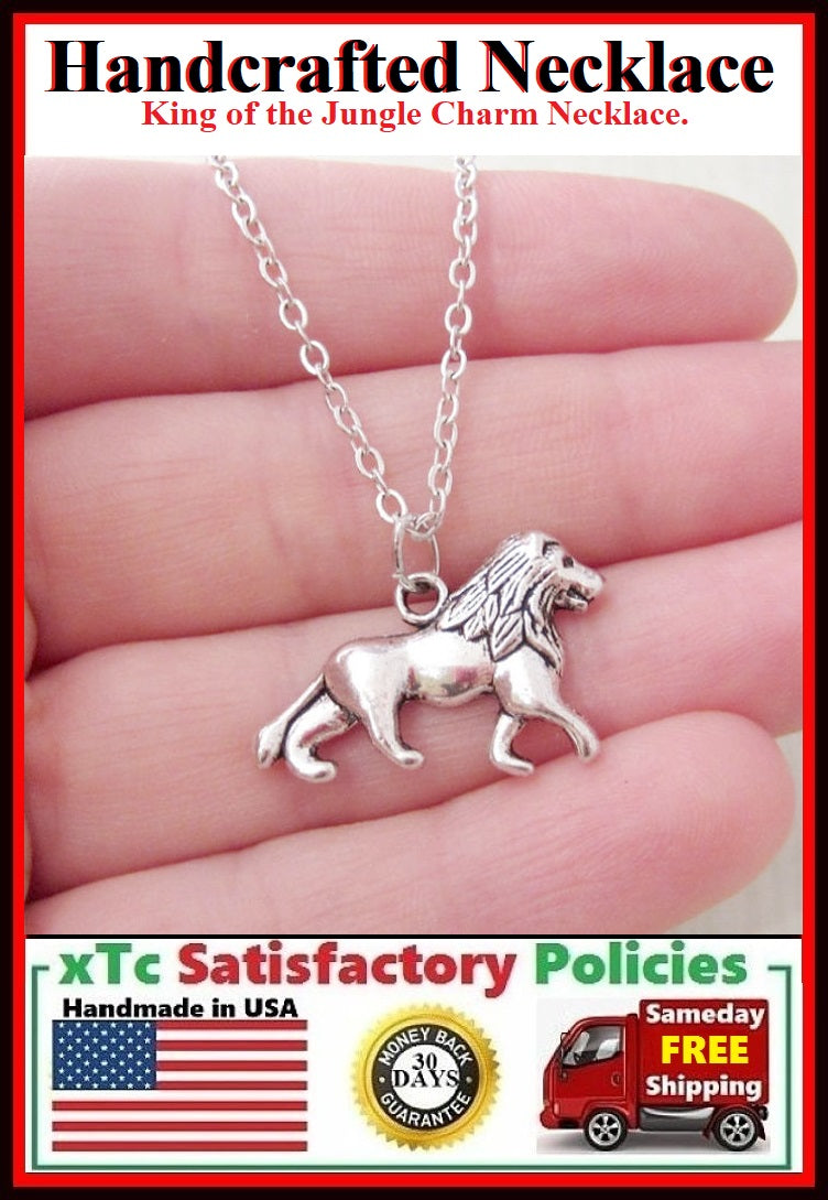Handcrafted Beautiful Lion Silver Charm Necklace.