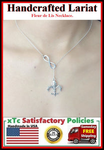French Royalty: Fleur De Lis Charm Lariat Necklace.