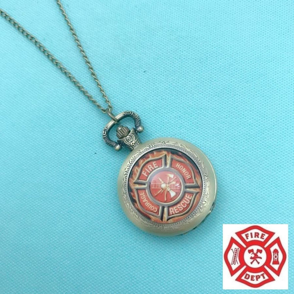 "Firefighters Flames Bronze Locket Quartz Watch 30"" Necklace."