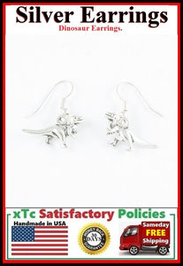 Gorgeous DINOSAUR Silver Dangle Earrings.