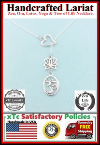 Gorgeous OVAL OM and LOTUS  Lariat Style Necklace.
