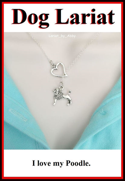 I Heart French Poodle Handcrafted Necklace Lariat Style.